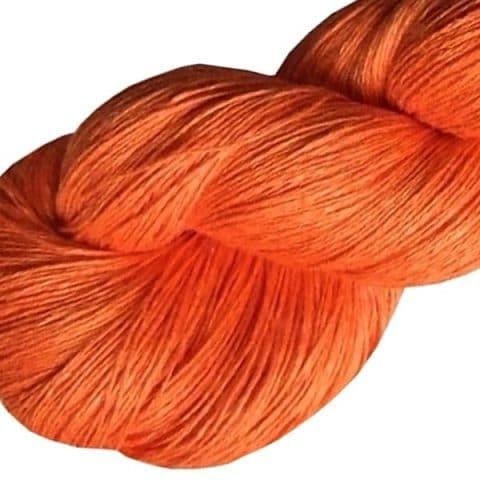 Fil de lin mandarine pour tricoter et crocheter