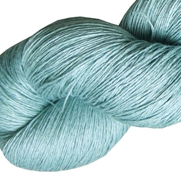Fil de lin bleu dragée pour tricoter et crocheter