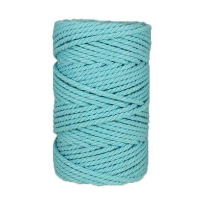 Macramé - corde - ficelle - coton- bleu maya - 5mm
