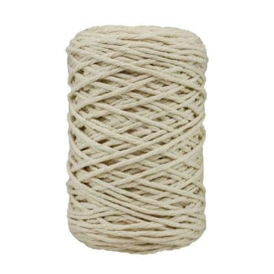 Coton bitord, barbante, fil de coton recyclé, 3 mm, naturel