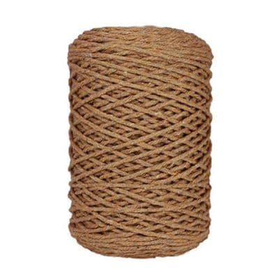 Coton bitord, barbante, fil de coton, 3 mm, marron