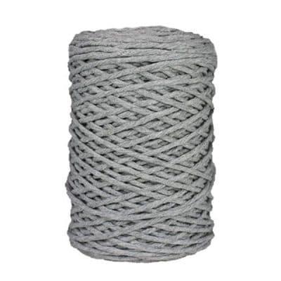 Coton bitord, barbante, fil de coton recyclé, 3 mm, gris