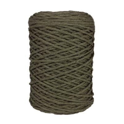 Coton bitord, barbante, fil de coton recyclé, 3 mm, vert militaire