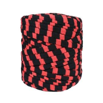Trapilho, trapillo, tshirt yarn, bobine, pelote, rayé rouge et noir