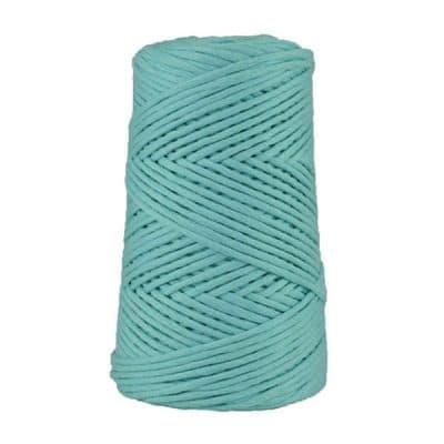 Cordon - corde - coton peigné suprême - fil de 4mm - bleu cyan - macramé - crochet - tricot - tissage