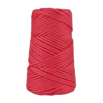 Cordon - corde - coton peigné suprême - fil de 4mm - rouge framboise - macramé - crochet - tricot - tissage