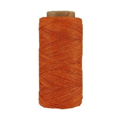 Fil de lin ciré - Orange brûlée - Bobine 100% lin - Micro-macramé, bijoux, couture, reliure, maroquinerie