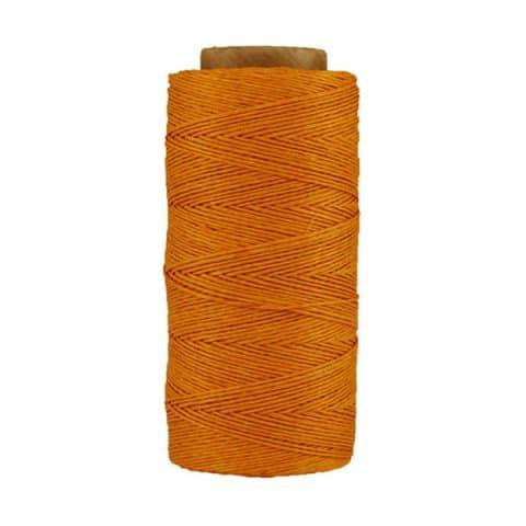 Fil de lin ciré - mandarine- Bobine 100% lin - Micro-macramé, bijoux, couture, reliure, maroquinerie