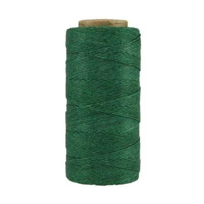 Fil de lin ciré - Vert sapin - Bobine 100% lin - Micro-macramé, bijoux, couture, reliure, maroquinerie