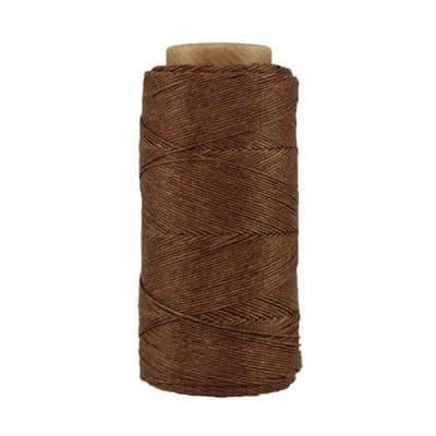 Fil de lin ciré - Marron glacé- Bobine 100% lin - Micro-macramé, bijoux, couture, reliure, maroquinerie