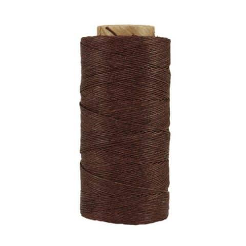 Fil de lin ciré - Chocolat - Bobine 100% lin - Micro-macramé, bijoux, couture, reliure, maroquinerie