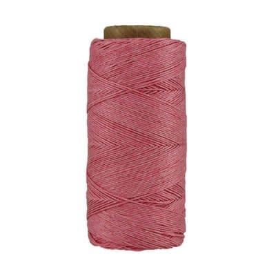 Fil de lin ciré - Rose- Bobine 100% lin - Micro-macramé, bijoux, couture, reliure, maroquinerie
