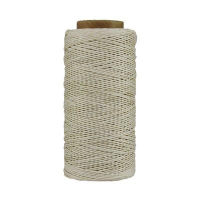 Fil de lin ciré - Blanc cassé - Bobine 100% lin - Micro-macramé, bijoux, couture, reliure, maroquinerie