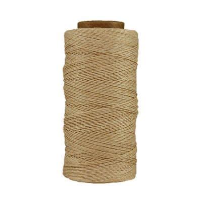Fil de lin ciré - Naturel - Bobine 100% lin - Micro-macramé, bijoux, couture, reliure, maroquinerie