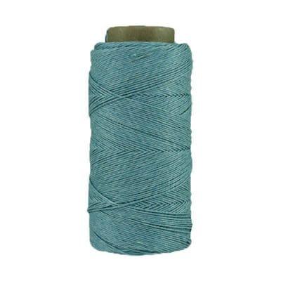 Fil de lin ciré - Bleu horizon - Bobine 100% lin - Micro-macramé, bijoux, couture, reliure, maroquinerie