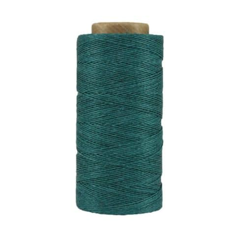 Fil de lin ciré - Bleu vert sarcelle - Bobine 100% lin - Micro-macramé, bijoux, couture, reliure, maroquinerie