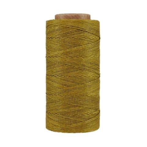 Fil de lin ciré - Jaune moutarde - Bobine 100% lin - Micro-macramé, bijoux, couture, reliure, maroquinerie
