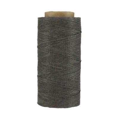 Fil de lin ciré - Gris fer - Bobine 100% lin - Micro-macramé, bijoux, couture, reliure, maroquinerie