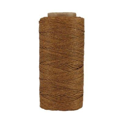 Fil de lin ciré - Noisette - Bobine 100% lin - Micro-macramé, bijoux, couture, reliure, maroquinerie