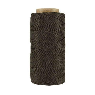 Fil de lin ciré - Terre d'ombre - Bobine 100% lin - Micro-macramé, bijoux, couture, reliure, maroquinerie
