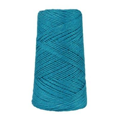 Fil de lin rustique -2 mm - Bobine - Ficelle - Bleu bondi - Macramé, tricot, crochet