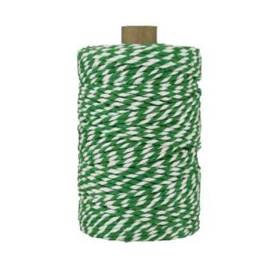 Ficelle Baker Twine - 2 mm - Bobine de ficelle Twine en coton recyclé - Vert et blanc