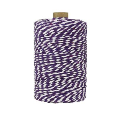 Ficelle Baker Twine - 2 mm - Bobine de ficelle Twine en coton recyclé - Violet et blanc