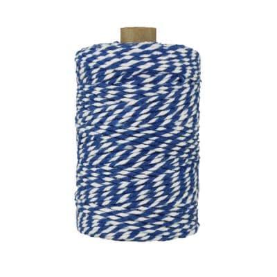 Ficelle Baker Twine - 2 mm - Bobine de ficelle Twine en coton recyclé - Bleu et blanc