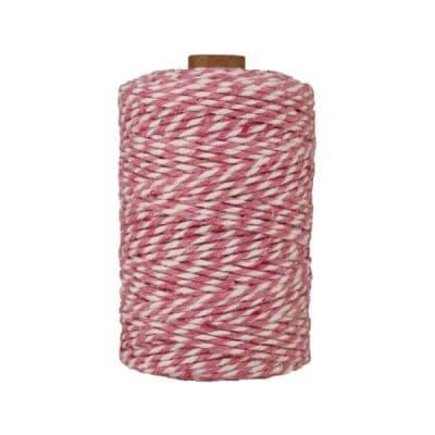 Ficelle Baker Twine - 2 mm - Bobine de ficelle Twine en coton recyclé - Rose et blanc