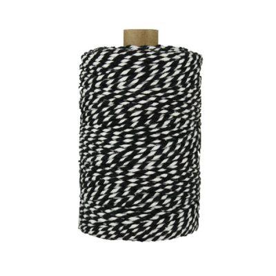 Ficelle Baker Twine - 2 mm - Bobine de ficelle Twine en coton recyclé - Noir et blanc