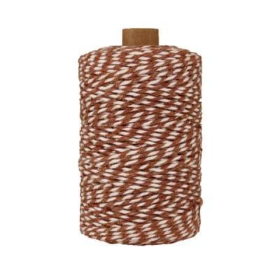 Ficelle Baker Twine - 2 mm - Bobine de ficelle Twine en coton recyclé - Marron et blanc