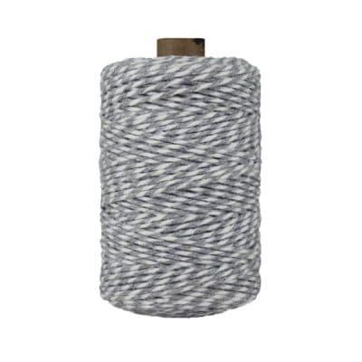 Ficelle Baker Twine - 2 mm - Bobine de ficelle Twine en coton recyclé - Gris et blanc