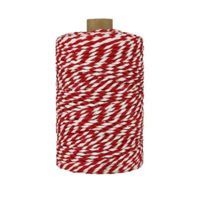 Ficelle Baker Twine - 2 mm - Bobine de ficelle Twine en coton recyclé - Rouge et blanc