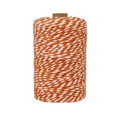 Ficelle Baker Twine - 2 mm - Bobine de ficelle Twine en coton recyclé - Orange et blanc