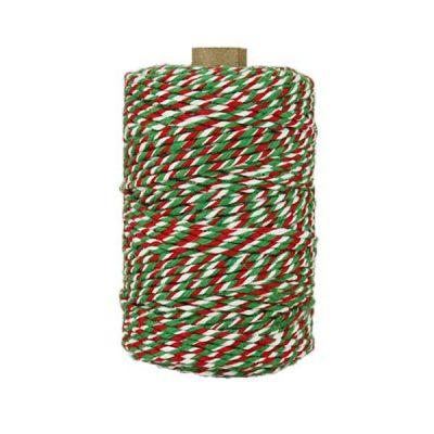 Ficelle Baker Twine - 2mm - Rouge vert et blanc