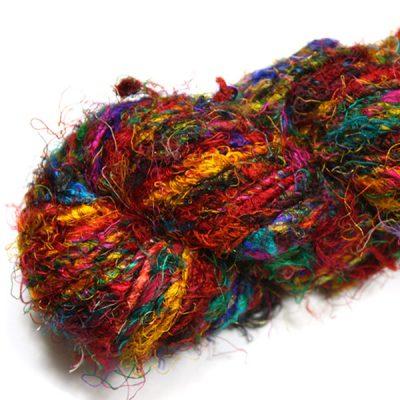 Fil de soie de sari filé main pour tricot, crochet, artisanat, art textile, création de bijoux