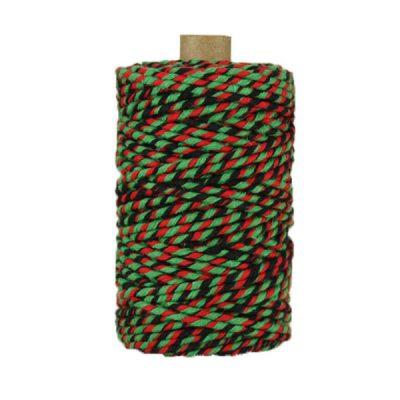 Ficelle Baker Twine - 3mm - Bobine - Noir/rouge/vert