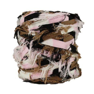 B-137---Bobine-trapilho---Blanc,rose,noir-et-marron-(effiloché)