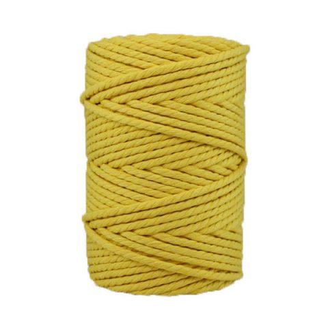 Corde macramé artisanale - Cordon - Ficelle - Fil de coton torsadé 4 mm - Jaune mimosa