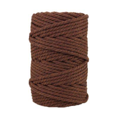 Corde macramé artisanale - Cordon - Ficelle - Fil de coton torsadé 4 mm - Marron châtaigne