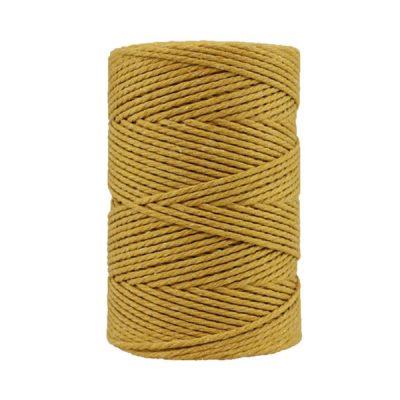Corde macramé artisanale - Coton - Cordon - Ficelle - Fil 3 mm - Jaune moutarde