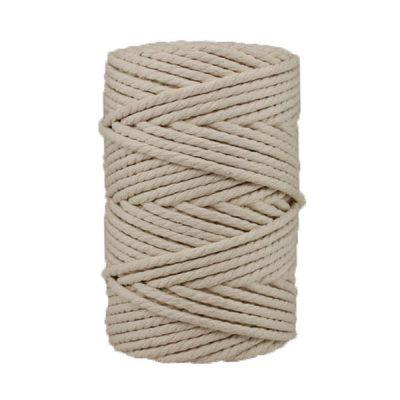 Corde macramé artisanale - Cordon - Ficelle - Fil de coton torsadé 4 mm - Blanc cassé