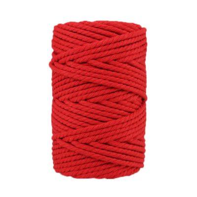 Corde macramé artisanale - Cordon - Ficelle - Fil de coton torsadé 4 mm - Rouge coquelicot