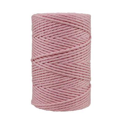 Corde macramé artisanale - Coton - Cordon - Ficelle - Fil 3 mm - Rose poudré