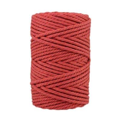 Corde macramé artisanale - Cordon - Ficelle - Fil de coton torsadé 4 mm - Rose terracotta