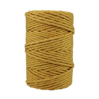 Corde macramé artisanale - Cordon - Ficelle - Fil de coton torsadé 4 mm - Jaune moutarde