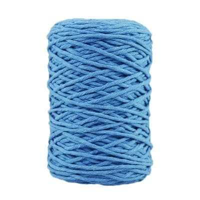 Coton bitord, barbante, fil de coton recyclé, 3 mm, bleu horizon