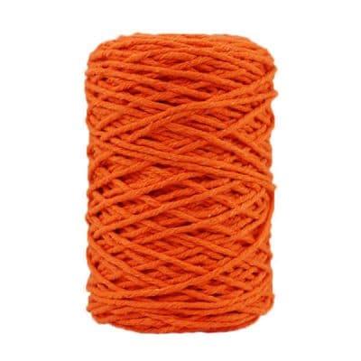 Coton bitord, barbante, fil de coton recyclé, 3 mm, mandarine
