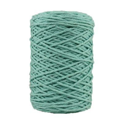 Coton bitord, barbante, fil de coton recyclé, 3 mm, azurin