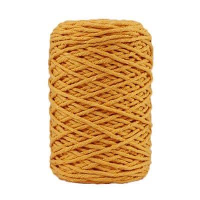 Coton bitord, barbante, fil de coton recyclé, 3 mm, jaune